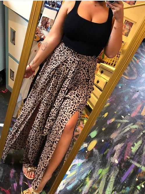 Leopard slit pants