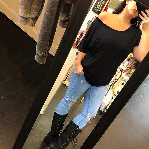 Black shoulder tee
