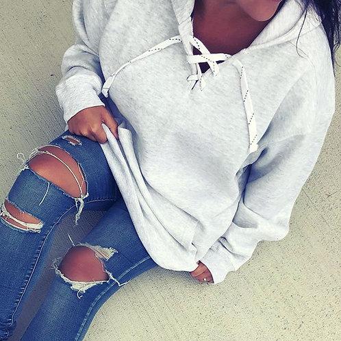 lace up heather boyfriend hoodie