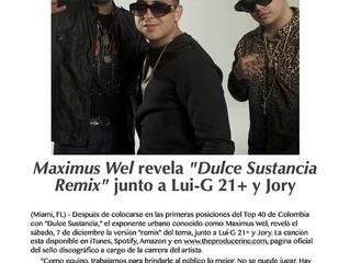 "Lui-G 21+ participa en ""Dulce Sustancia Remix"" junto a Maximus Wel y Jory"