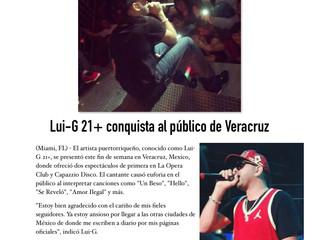 Lui-G 21+ conquista al publico de Veracruz