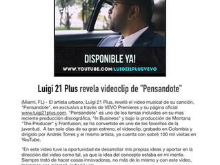 """Luigi 21 Plus revela videoclip de """"Pensandote"""""""