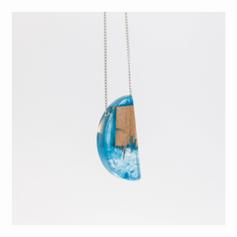 Biojóia Azul da Cor do mar - Resina + Madeira ressignificada (ajuda na concentração) - R$ 56