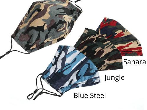 Adult Washable Cloth Face Mask + Filter - Blue Steel, Jungle,  Sahara