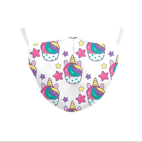Kids Washable Cloth Face Mask + 2 Filters - Unicorn Muffins