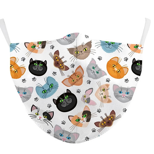 Adult Washable Cloth Face Mask + Filter - Cool Cats