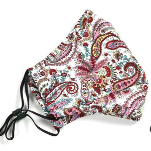 Adult Washable Cloth Face Mask + Filter - Red Paisley