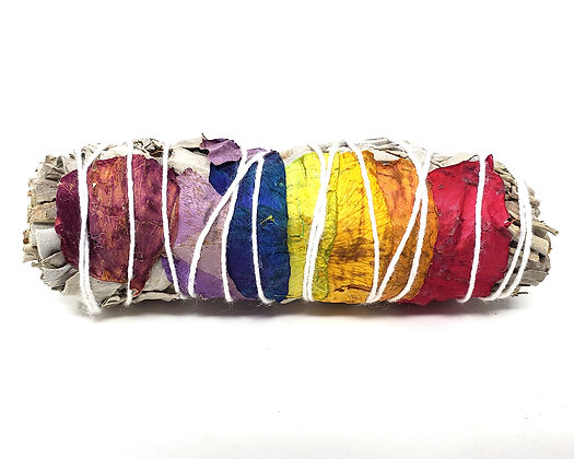 7 Chakra Sage (White Sage with 7 Color Rose Petals)4""