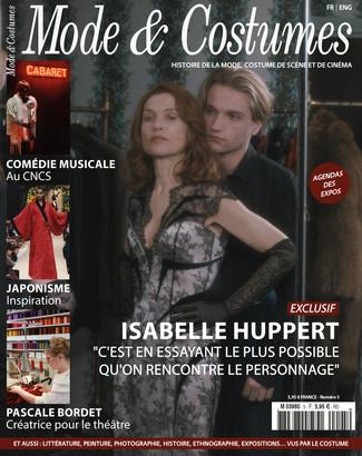 L'actrice Isabelle Huppert à la Une du numéro 5 de Mode & Costumes, le magazine de l'His