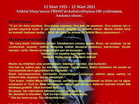İSTİKLAL MARŞI'MIZIN TBMM'DE KABUL EDİLİŞİNİN 100. YIL DÖNÜMÜ