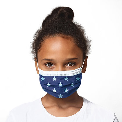 Face Mask Juniors - Patriotic (Stars) / BFE 98% - FDA Cleared Facility