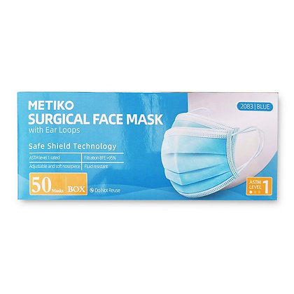 Metiko Surgical Face Mask – ASTM Level I  / $.25 per mask (Sold by Case) MOQ