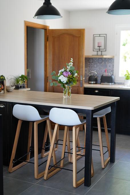 Ilot cuisine cottage noire à Blois
