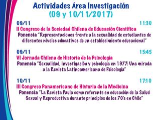 Actividades del área de investigación para esta semana (09 y 10 de noviembre)