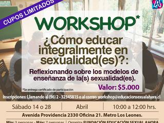 """Inscríbete al Workshop """"¿Cómo educar integralmente en sexualidad(es)?: Reflexionando sobre los"""