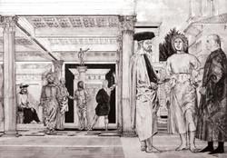 La flagellazione di Cristo, libera interpretazione da Piero della Francesca, inchiostro ed