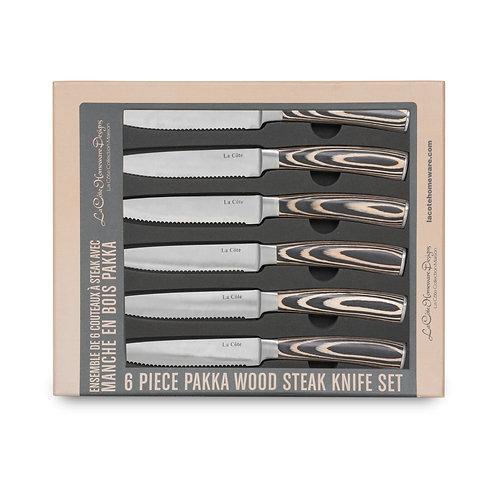 SIX PIECE PAKKA WOOD STEAK KNIFE SET IN GIFT BOX