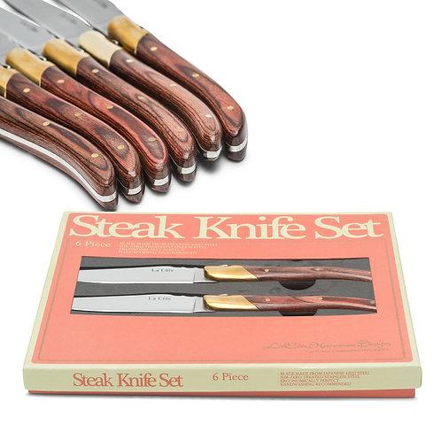 SIX PIECE CUPREOUS STEAK KNIVES