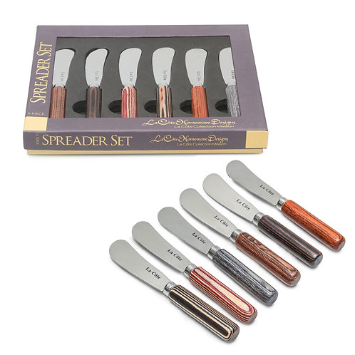SIX PIECE PAKKA WOOD SPREADER SET (IN GIFT BOX)
