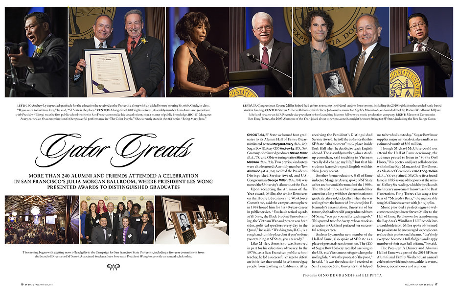 Photo edit + design of feature spread. Alumni Awards ceremony. SF State magazine.