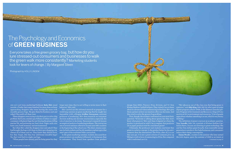 Steven Powell Design. Stanford Business feature layout. Art direction + page design.
