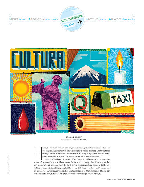 Steven Powell Design. AFAR feature layout. Assign illustration + design.