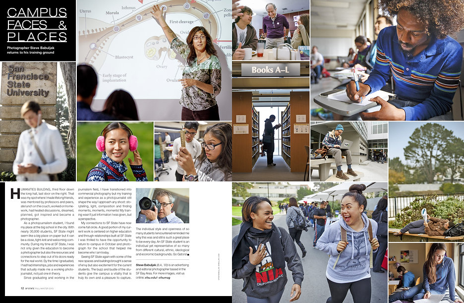 Photo edit + design | Featre spread | SF State magazine |
