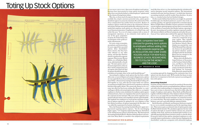Stanford Business feature layout. Photo art direction + page design.