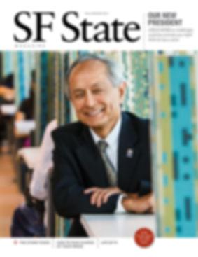 Portrait SF State President Leslie Wong. Photo edit + design.