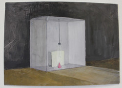 Pink cone in box with light