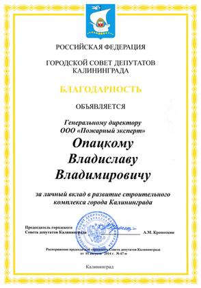 Благодарность Городской совет депутатов.