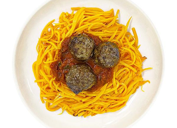 Grass Fed Meatballs and Butternut Noodles