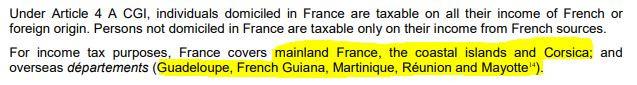 Francia cobra impuestos no solo en la francia continental