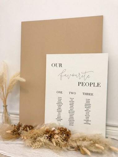 White Minimal Modern Seating Plan with dried florals