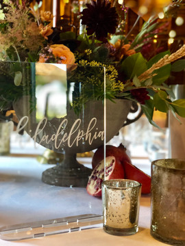 Smoked Perspex table names