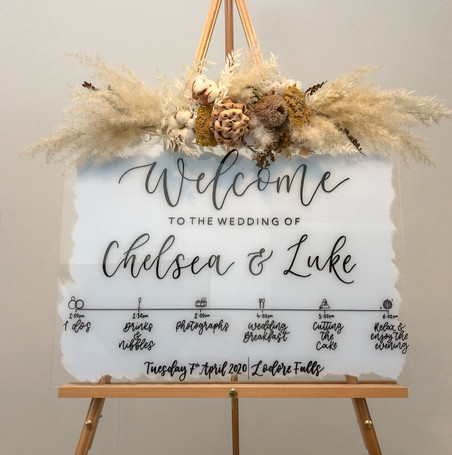 Painted Blue Acrylic Welcome Sign with Order of the day timeline