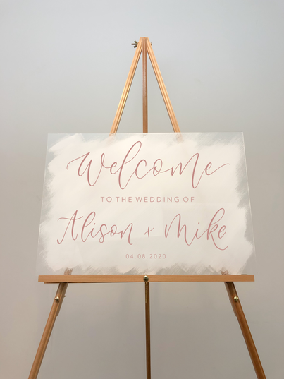White Painted Acrylic Welcome Sign