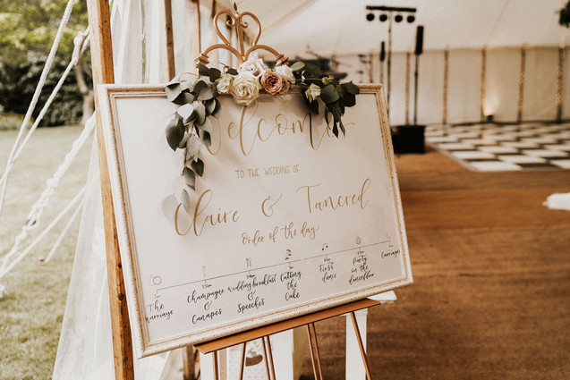 Framed Welcome Sign with Order of the day timeline