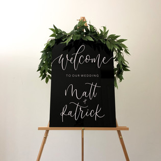 Black Acrylic Welcome Sign