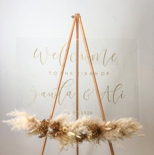 Clear Acrylic Welcome Sign with gold ink