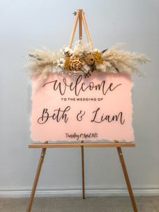 Pink painted Acrylic Welcome Sign