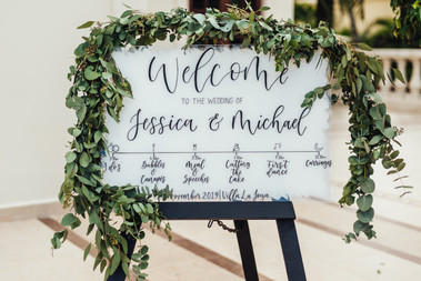 White Painted Acrylic Welcome Sign with Order of the day timeline