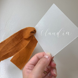 Vellum Place Card with Silk Ribbon