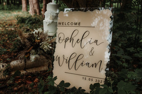 Beige painted Acrylic Welcome Sign