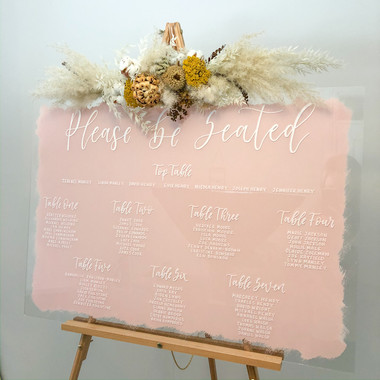 Pink painted Acrylic Seating Plan