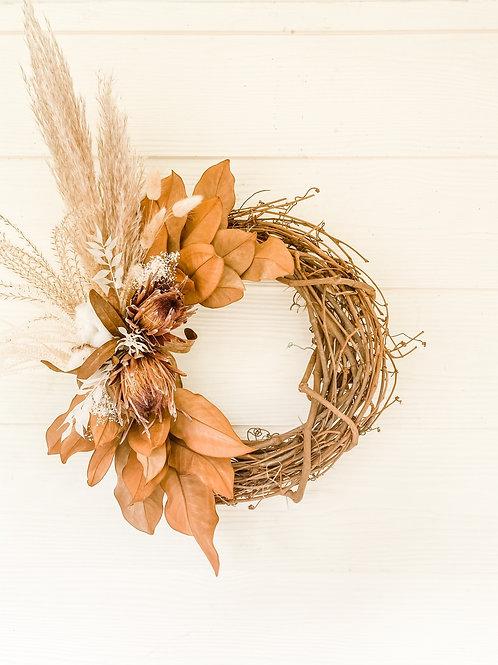 The Pampas, Protea & Cotton Wreath
