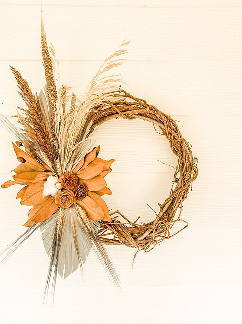 The Peasant Feather & Palm Fan Wreath