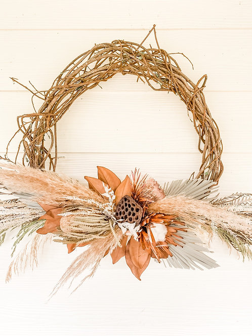 The Banksia & Pampas Wreath