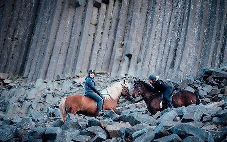 Icelandc nature, horseback on friendly horses