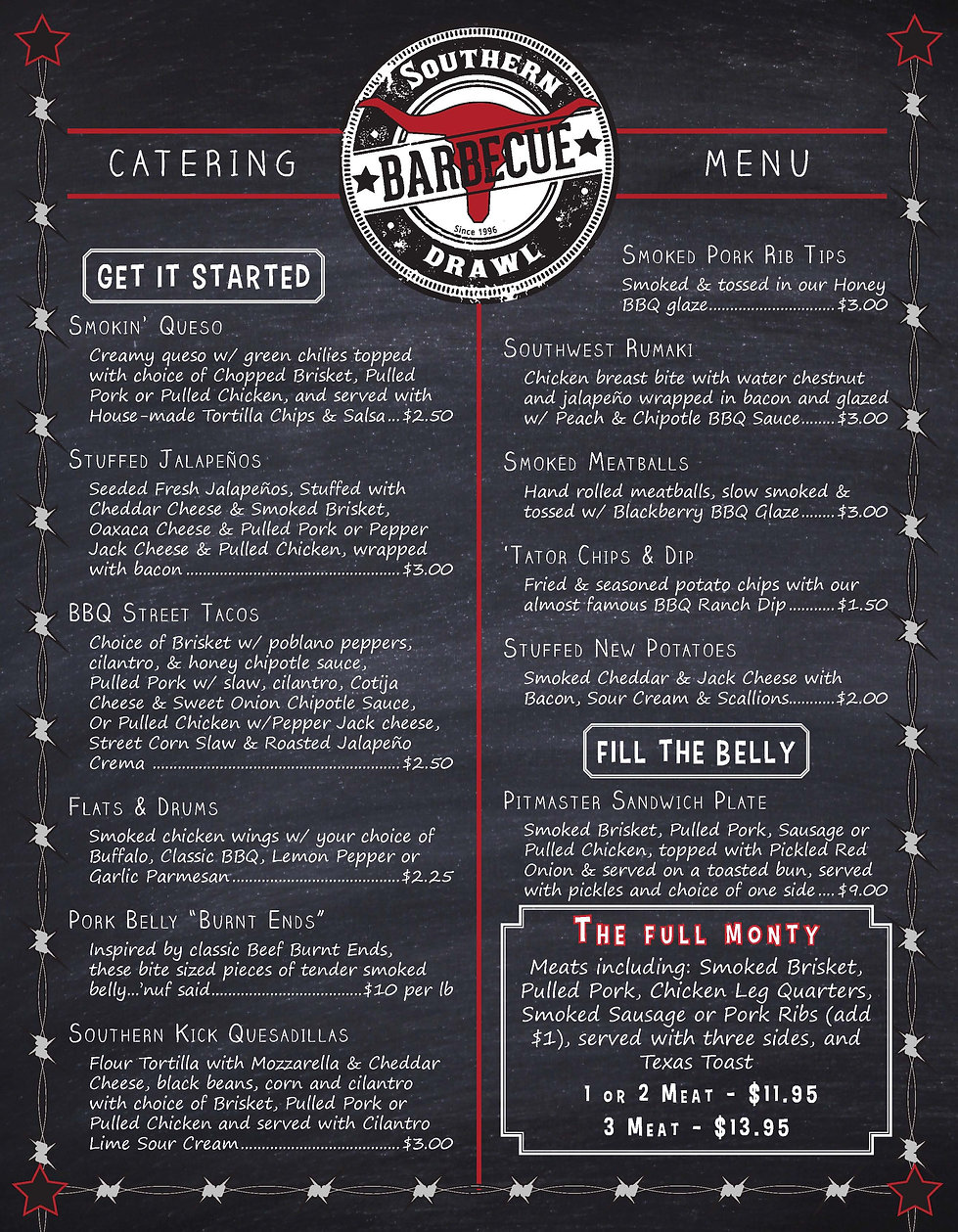 Southern Drawl Menu